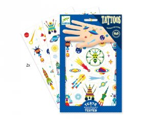 Tetoválás, Foszforeszkáló, Égi furcsaságok (Djeco, 9590, bőrbarát tetkó, 3-10 év)