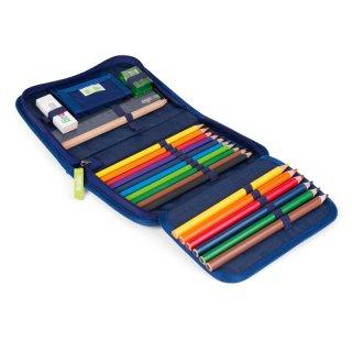 Tolltartó írószerekkel, Ergobag iskolaszer, barna mintás (6-12 év)
