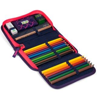 Tolltartó írószerekkel, Ergobag iskolaszer, lila sellős fluoreszkáló (6-12 év)