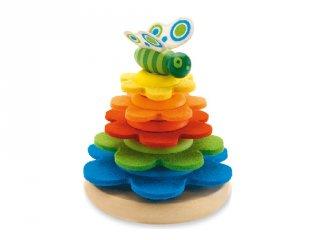 Toronyépítő játék Butterfly, Djeco montessori fa bébijáték (6404-T, 1-3 év)