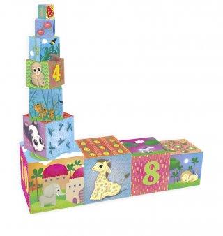 Toronyépítő kocka, Állatokkal és számokkal (Vilac, 2481, 10 db-os toronyépítő bébijáték, 1-4 év)