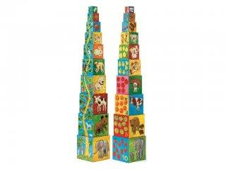 Toronyépítő kocka, Barátok (Djeco, 8506, 10 db-os bébi építőjáték, 0-3 év)