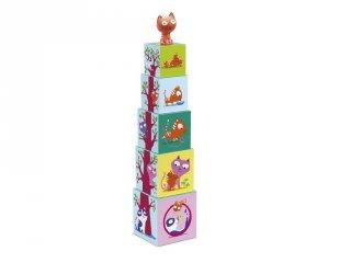 Toronyépítő kocka cicával (Djeco, 9100, bébi építőjáték és szerepjáték, 0-3 év)