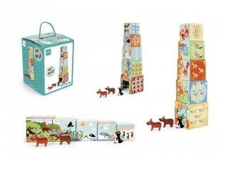 Toronyépítő kocka és puzzle A világ állatai, bébi építőjáték (Scratch, 6181118, 1-3 év)