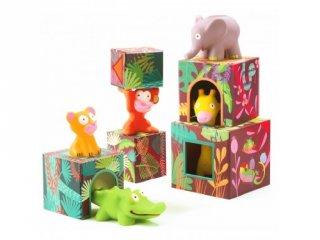 Toronyépítő kocka figurákkal, Dzsungel (Djeco, 9101, állatos építőjáték, 1-4 év)