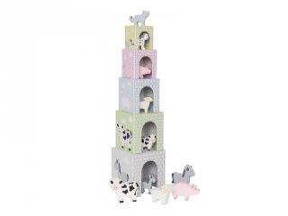 Toronyépítő kocka háziállatokkal, fa bébijáték (Jabadabado, 1-5 év)