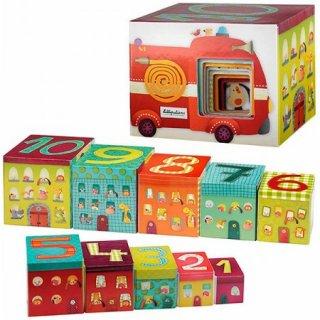 Toronyépítő kocka, Jef kutyus járművei (Lilliputiens, 86429, bébi építőjáték, 2-6 év)