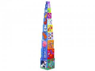 Toronyépítő kocka, Mókás képek (Djeco, 8503, 10 db-os bébi építőjáték, 0-3 év)