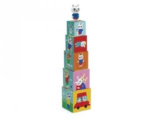 Toronyépítő kocka nyuszival (Djeco, 9104, bébi építőjáték és szerepjáték, 0-3 év)