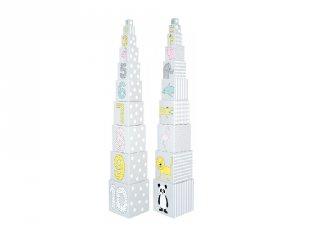 Toronyépítő kocka pasztell szürke, bébi építőjáték (Jabadabado, 1-3 év)