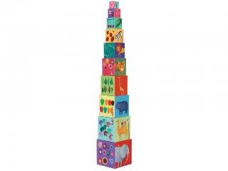Toronyépítő kocka, Természet (Djeco, 8505, 10 db-os bébi építőjáték, 0-3 év)