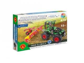 Traktor tárcsás boronával fém építőjáték, 479 db-os tudományos építőkészlet (8-14 év)