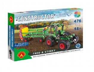 Traktor trágyaszóróval fém építőjáték, 476 db-os tudományos építőkészlet (8-14 év)