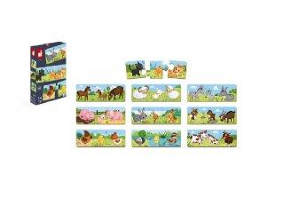 Trionimo párosító puzzle Háziállatok, 30 db-os Janod kirakó (2710, 3-6 év)
