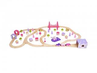 Tündér város, nagy vasúti szett lányoknak (Bigjigs, vonatos játék, 3-10 év)
