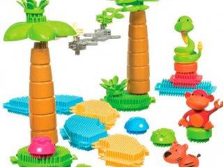 Tüskejáték fedeles tárolóban (Bristle Blocks, 58 db-os kreatív építőjáték, 1-5 év)