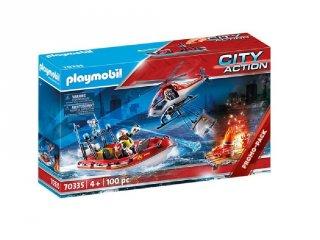 Tűzoltók helikopterrel és csónakkal, Playmobil szerepjáték (70335, 4-10 év)