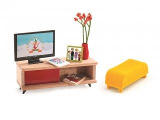 TV szoba (Djeco, 7827, fa kiegészítő babaházhoz, 4-10 év)