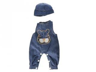 Ujjatlan kék rugdalózó sapkával 38-40 cm-es babákhoz (miniland, babajáték, babaruha, 3-8 év)