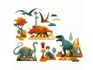 Újraragasztható ablakmatrica, Dinoszauruszok (Djeco, 5050, szobadekoráció)