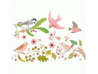 Újraragasztható ablakmatrica, Romantikus madarak (Djeco, 5052, szobadekoráció)