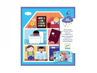 Újraragasztható matricás könyv A házban, Djeco kreatív játék - 9072 (18 hó-4 év)