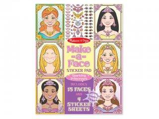Újraragasztható matricás könyv, Hercegnő arcok (Melissa&Doug, 19433, kreatív füzet, 3-8 év)