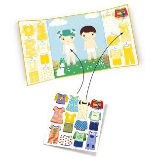 Újraragasztható matricás könyv Öltözködés, Djeco kreatív játék - 9070 (18 hó-4 év)