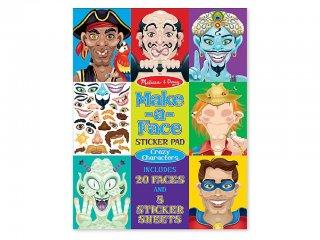 Újraragasztható matricás könyv, Vicces arcok (Melissa&Doug, 14237, kreatív füzet, 3-8 év)