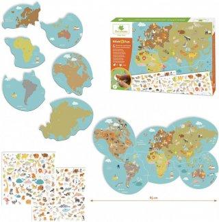 Újraragasztható matricázó készlet, Állatok a világtérképen, kreatív szett (Sycomore, 3-8 év)