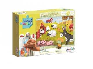 Újrarakható, ablakon használható, 24 db-os puzzle - Farm (AL, 4-6 év)