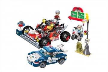 Üldözés az autópályán, Lego kompatibilis építőjáték készlet (QMAN, 1936, 6-12 év)