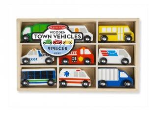 Városi autók fából, 9 db-os jármű készlet, Melissa&Doug fa szerepjáték (3-6 év)
