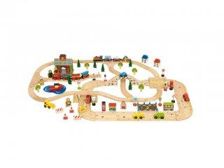Városi autópálya és vasútpálya szett (Bigjigs, vonatos játék, 3-10 év)