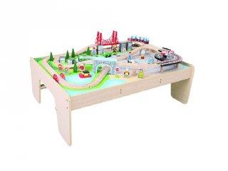Városi vonatszett terepasztal (Bigjigs, fa vonatos játék, 3-10 év)