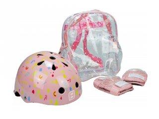 Védőfelszerelés: sisak, könyökvédő táskában, kiegészítő mozgásfejlesztő sport játékhoz