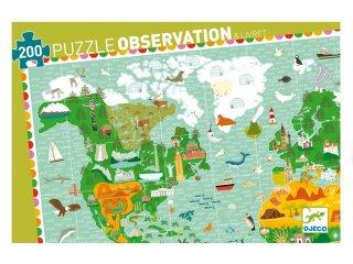 Világtérkép puzzle (Djeco, 7412, 200 db-os kirakó, 6-14 év)