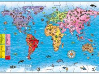 Világtérkép puzzle és poszter (Orchard, world map, 150 db-os puzzle, 5-10 év)