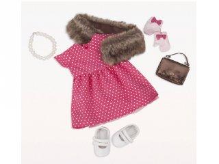 Vintage pöttyös ruha szőrme boleróval, babaruha 46 cm-es babához (OG)