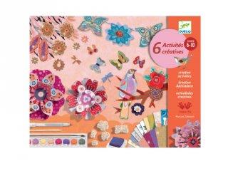 Virágos kert, Djeco kreatív készlet 6 technikával lányoknak - 9330 (6-10 év)