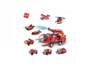 Vízágyús tűzoltókocsi, 8 az 1-ben Lego kompatibilis építőjáték készlet (QMAN, 1805, 6-12 év)