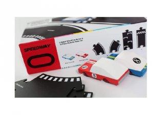Waytoplay rugalmas autópálya matchbox és más kisautóhoz, 12 db-os építőjáték 2 db autóval, Candylab Speedway