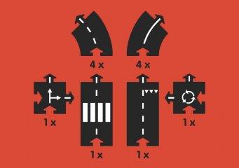 Waytoplay rugalmas autópálya matchbox és más kisautóhoz, 12 db-os építőjáték, Ring Road