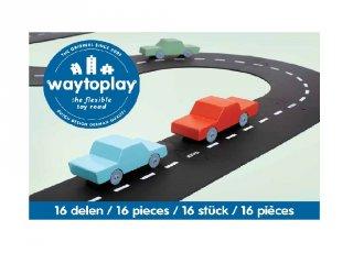 Waytoplay rugalmas autópálya matchbox és más kisautóhoz, 16 db-os építőjáték, Expressway