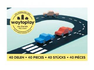 Waytoplay rugalmas autópálya matchbox és más kisautóhoz, 40 db-os építőjáték, King of the road