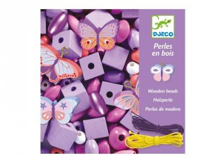 Wooden beads, Butterflies, Djeco pillangós ékszerkészítő kreatív szett (9810, 4-8 év)