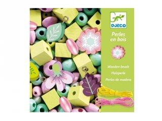 Wooden beads, Leaves and flowers, Djeco virágos ékszerkészítő kreatív szett (9808, 4-8 év)