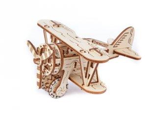 Wooden City Duplafedeles repülőgép mechanikus modell, fa építőjáték