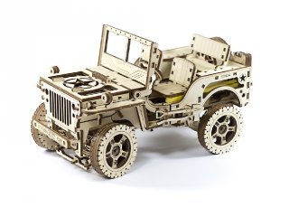 Wooden City Jeep mechanikus modell, fa építőjáték