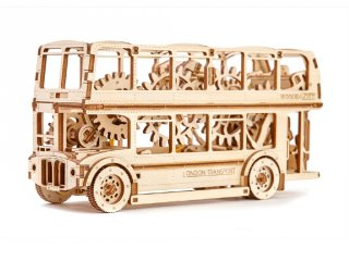 Wooden City London busz mechanikus modell, fa építőjáték